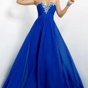 Strapless sapphire blue prom dress